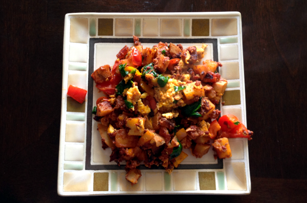 Sweet Potato And Chorizo Hash With Spinach And Peppers - The Be Well ...