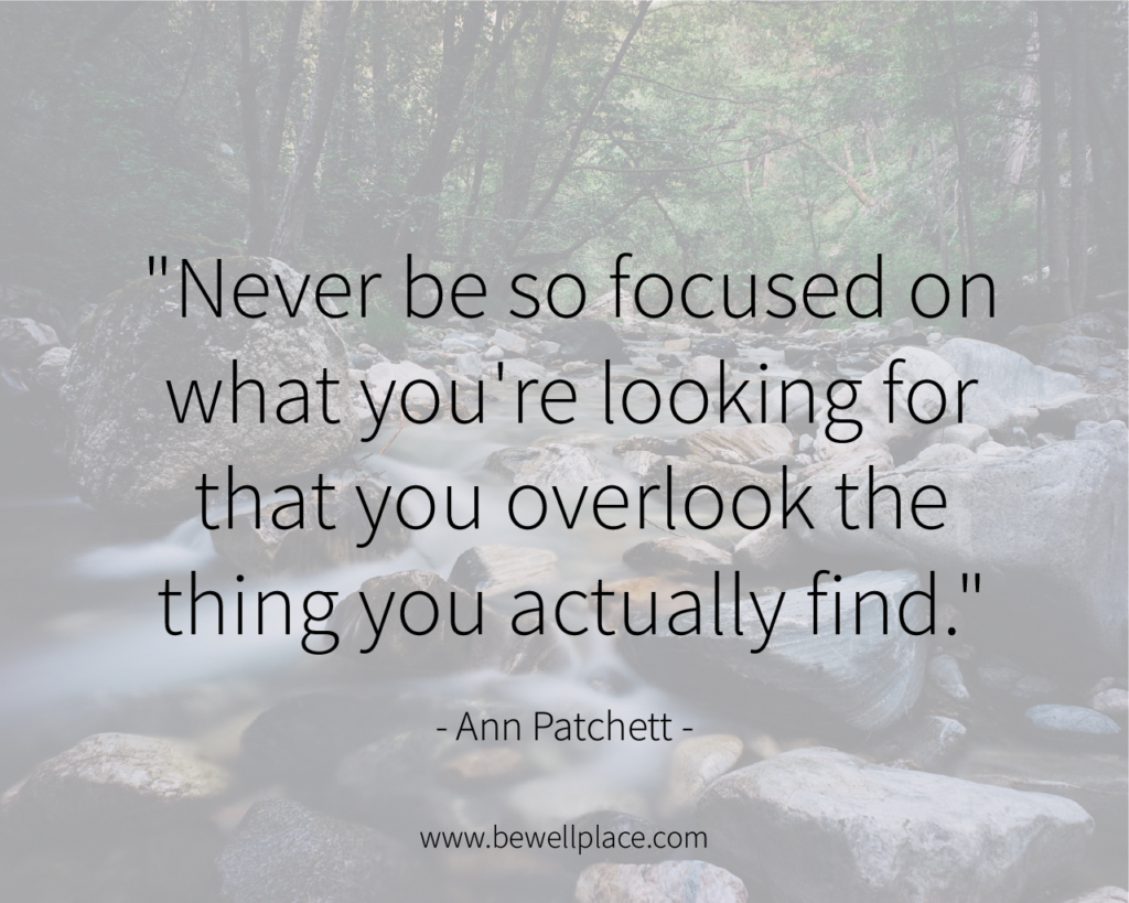 """Never be so focused on what you're looking for that you overlook the thing you actually find."" - Ann Patchett"