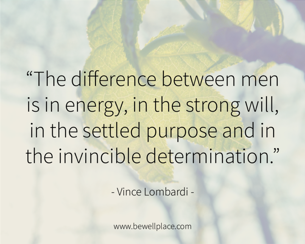 The difference between men is in energy, in the strong will, in the settled purpose and in the invincible determination. - Vince Lombardi