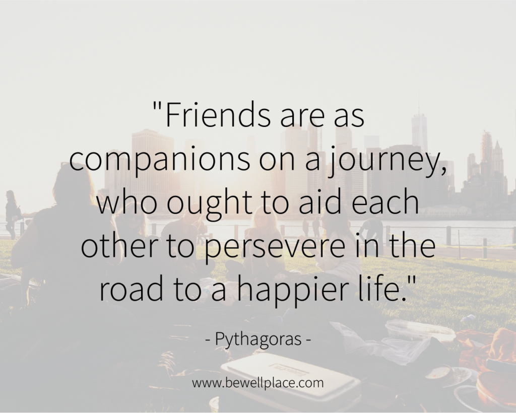 """Friends are as companions on a journey, who ought to aid each other to persevere in the road to a happier life."" - Pythagoras"