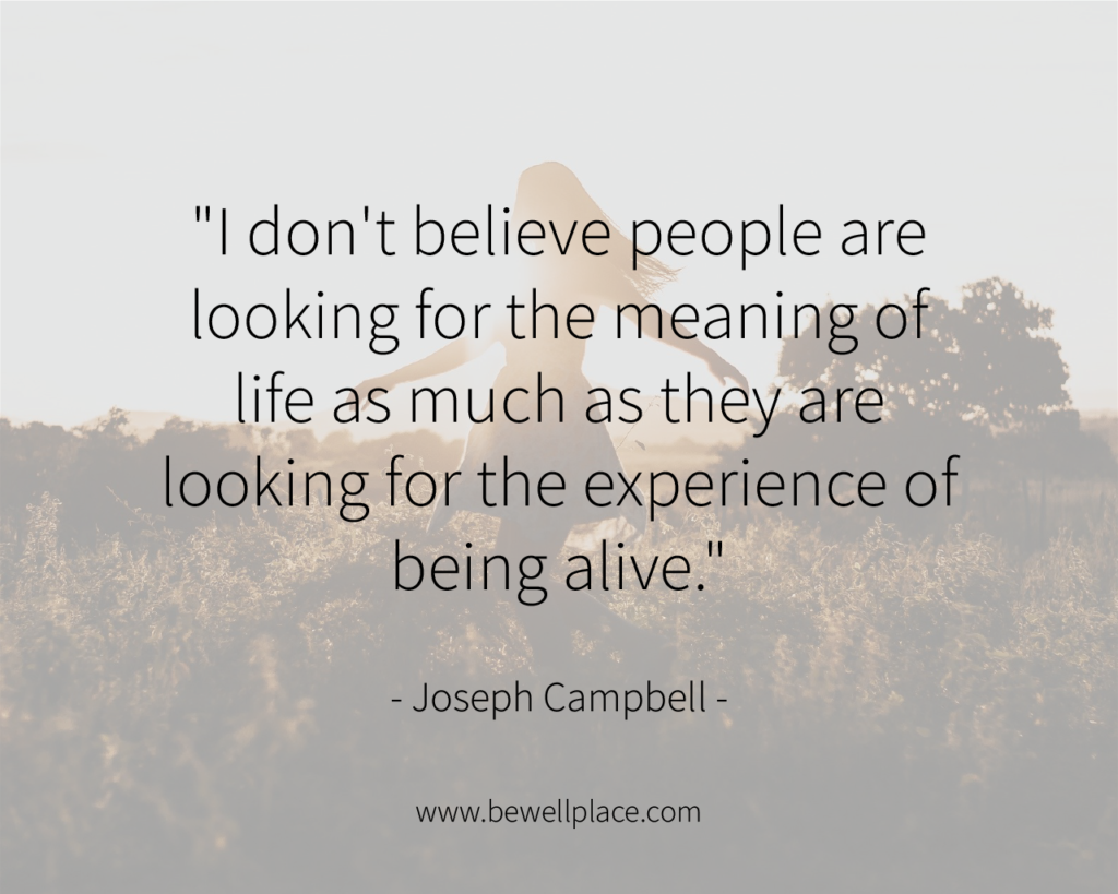 """I don't believe people are looking for the meaning of life as much as they are looking for the experience of being alive."" - Joseph Campbell"