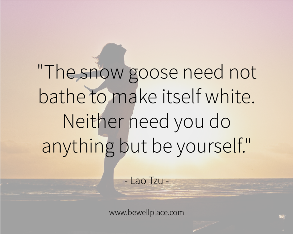 """The snow goose need not bathe to make itself white. Neither need you do anything but be yourself."" - Lao Tzu"